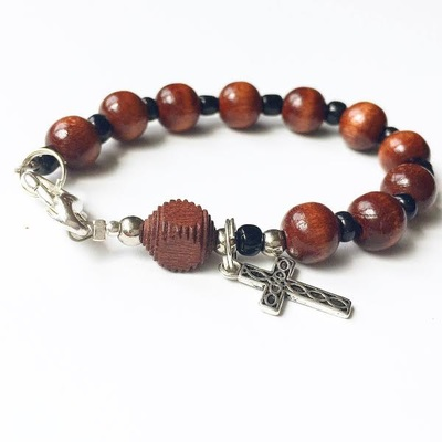 Dark Stained Wooden Rosary Bracelet